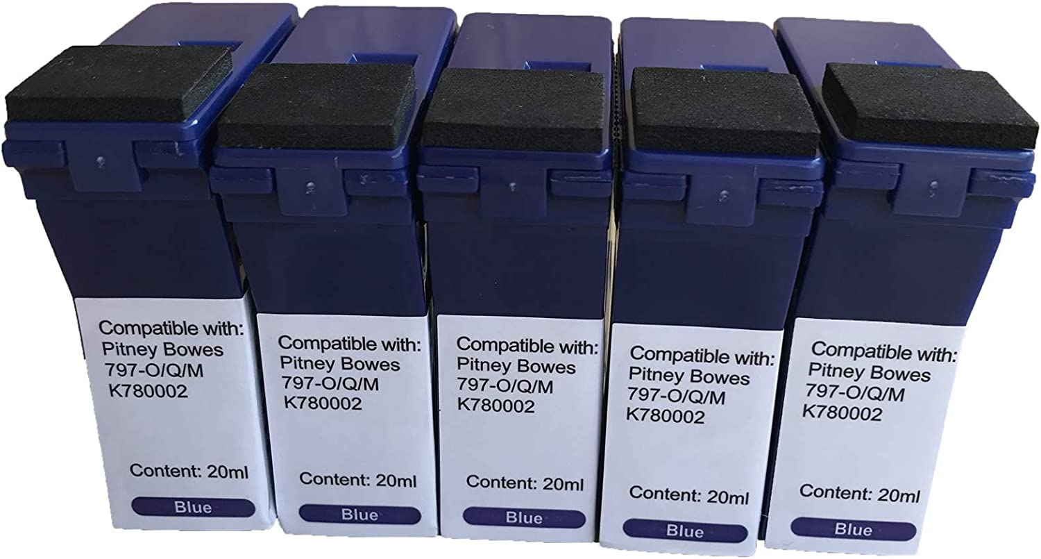 Blue, 5-Pack KLDink Compatible Ink Cartridge Replacement for Pitney Bowes 797-0