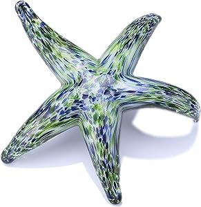 QF Hand Blown Glass Star Fish, Handmade Murano Style Sea Animal Figurine, Glass Star Fish, Home Decor
