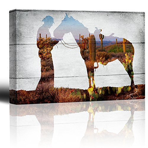Wall26 - Desert landscape scene through a horse and rider silhouette on a rustic wood background - Country western artwork - Canvas Art Home Decor - 16x24 inches