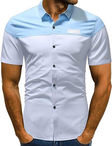 Camisa Casual Ajustada De La Manga Corta De La Mezcla De Algodón para Hombre 2 Colores (Asiático L-3XL): Amazon.es: Ropa y accesorios