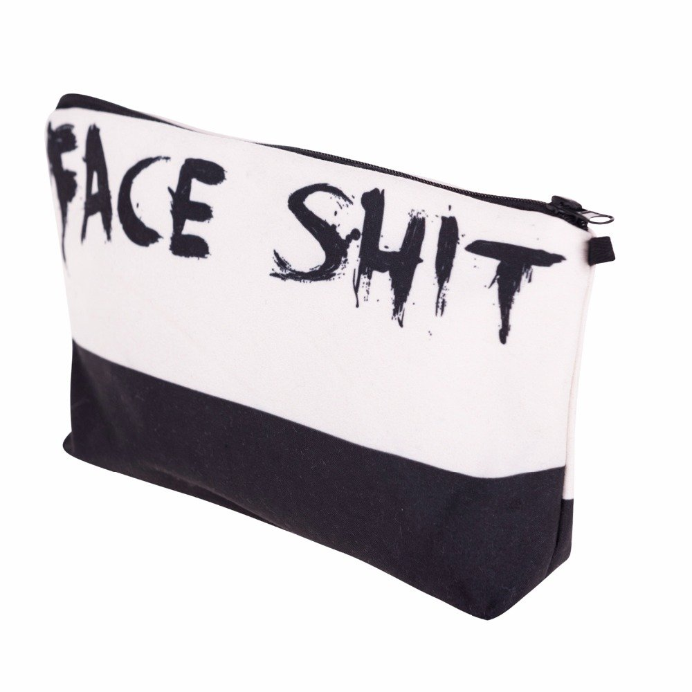 3D Printed Fashion Women's Cosmetic Makeup Bag (Face Shit). Add some humor to your life with this adorable Cotton Canvas traveling cosmetic organizer.