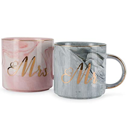 ylyycc mr mrs ceramic coffee mugs gift for wedding engagement bridal shower and married couples