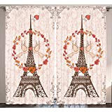 Ambesonne Paris Decor Collection, 108 X 84 Inches, Eiffel Tower France European Design, Silky Satin Window Treatments, Bedroom Living Dining Kids Room Curtain 2 Panels, Peach White Coral Orange Brown