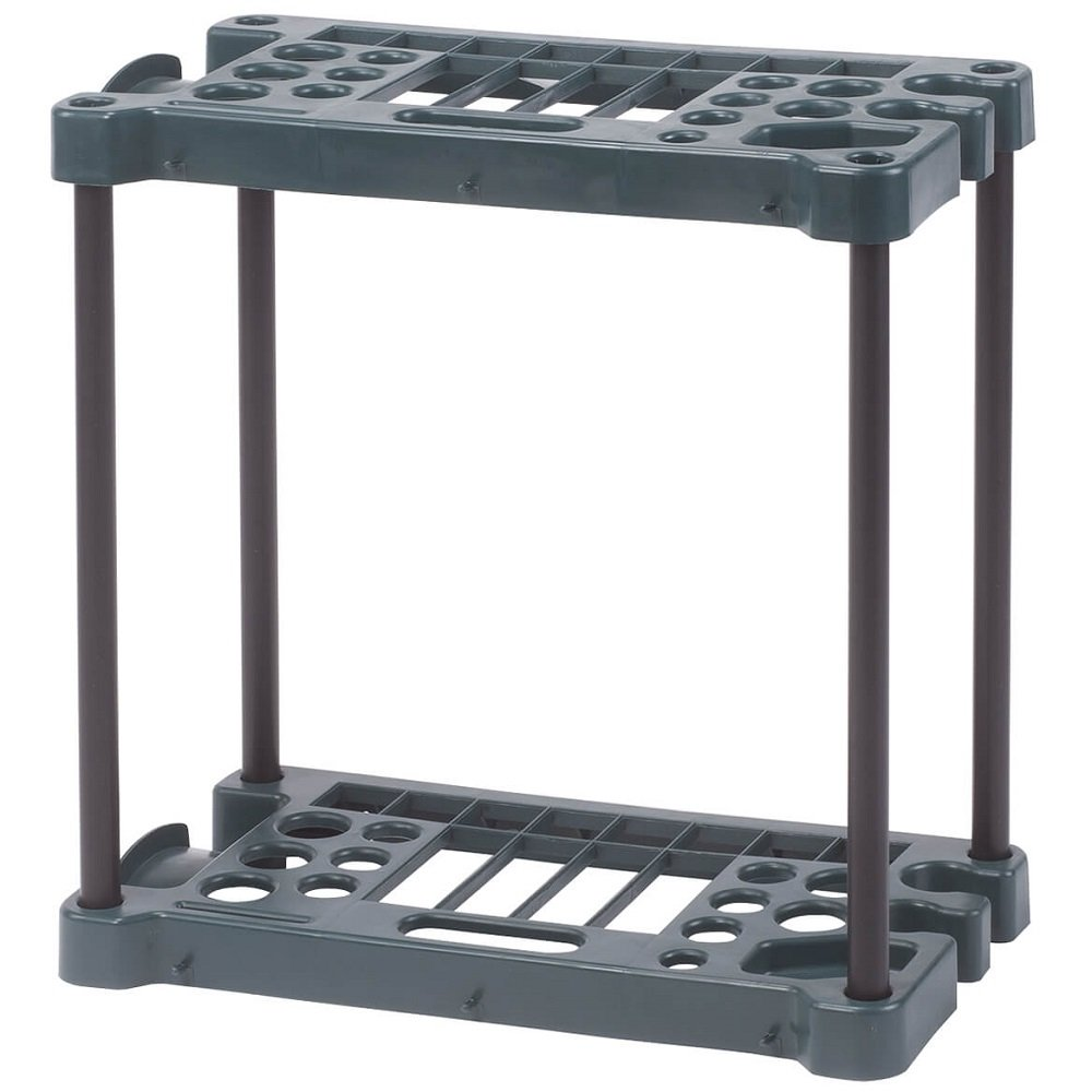 MS Home Multiple Slot Easy Assembly Freestanding Garden Tool Rack - Heavy-duty, Plastic - 23'' L x 12.5'' W x 24.25'' H
