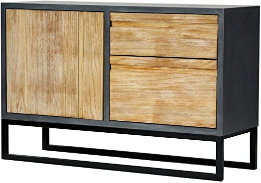 Heather Ann Creations The Nova Collection Modern Style Wooden 2 Drawer 1 Door Entry Way Dining Room Sideboard Cabinet, Grey and White Wash