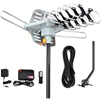 Digital Outdoor Amplified hd tv Antenna 150 Miles Range,Support 4K 1080p and 2 TVs with 33 ft Coax Cable,Adapter…