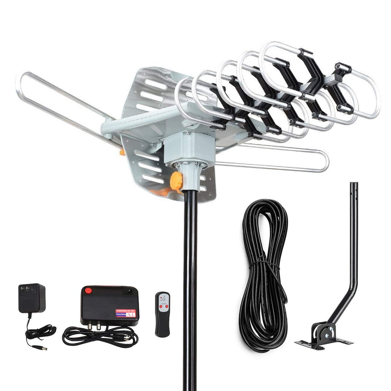 HDTV Antenna-150 Miles Range Amplified Digital Outdoor HDTV Antenna with Mounting Pole & 33FT RG6 Coax Cable-360 Degree Rotation Wireless Remote-Snap-On Installation Support 2 TVs