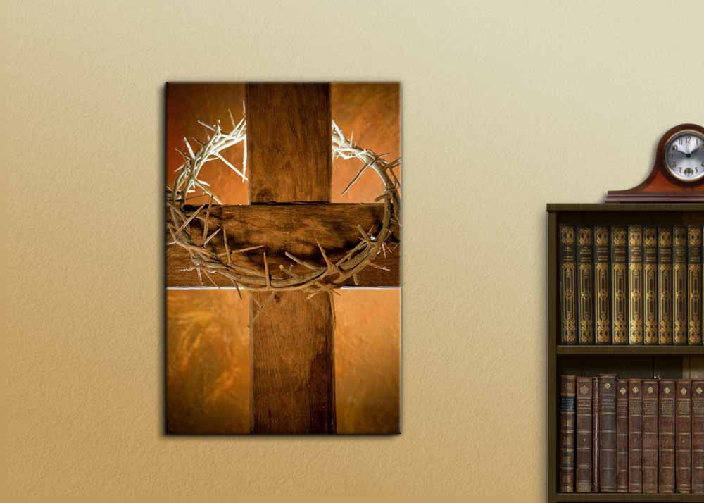 Crown Of Thorns Hanging On A Wooden Cross At Easter Wall Decor Ation