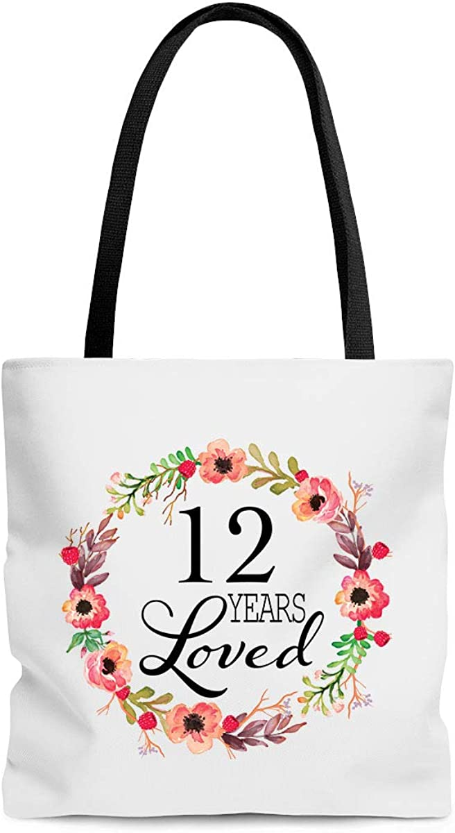12 Years Loved Tote Bag Sister Girlfriend Girls Teen 12th Birthday Gifts for Women Niece Her 12 Year Old Present Best Unique for Daughter