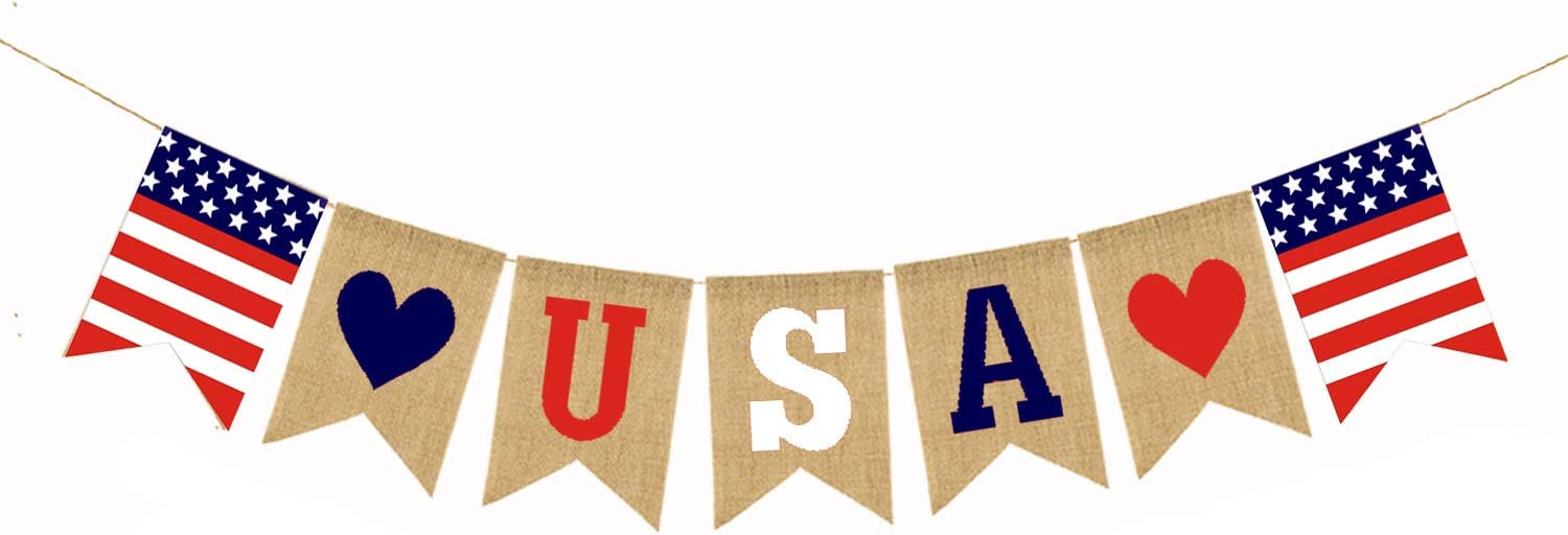 4th/fourth of July American Independence Day Patriotic Decorations - Jute Burlap USA String Pennant flag Banner for Mantel Fireplace Patriotic Events Sports Bars Party Decor Supplies