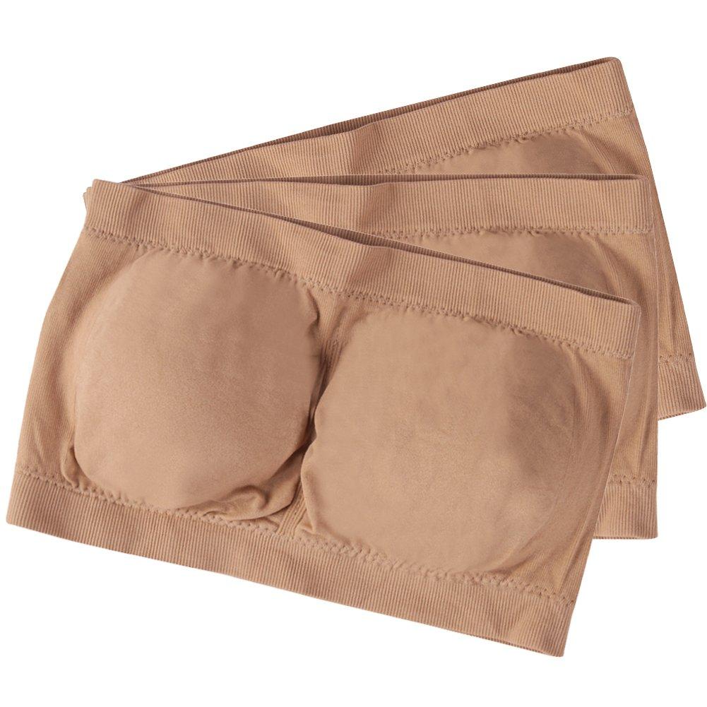 Women Strapless Seamless Padded Bandeau Tube Top 3-4 Pack Fasoar Womens Bandeau Bra