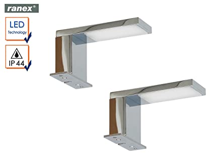 2er Set Moderne, Chromglänzende LED Spiegelleuchten JESOLO Fürs Badezimmer