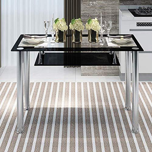Moderno juego de muebles de comedor negro rectangular de vidrio ...