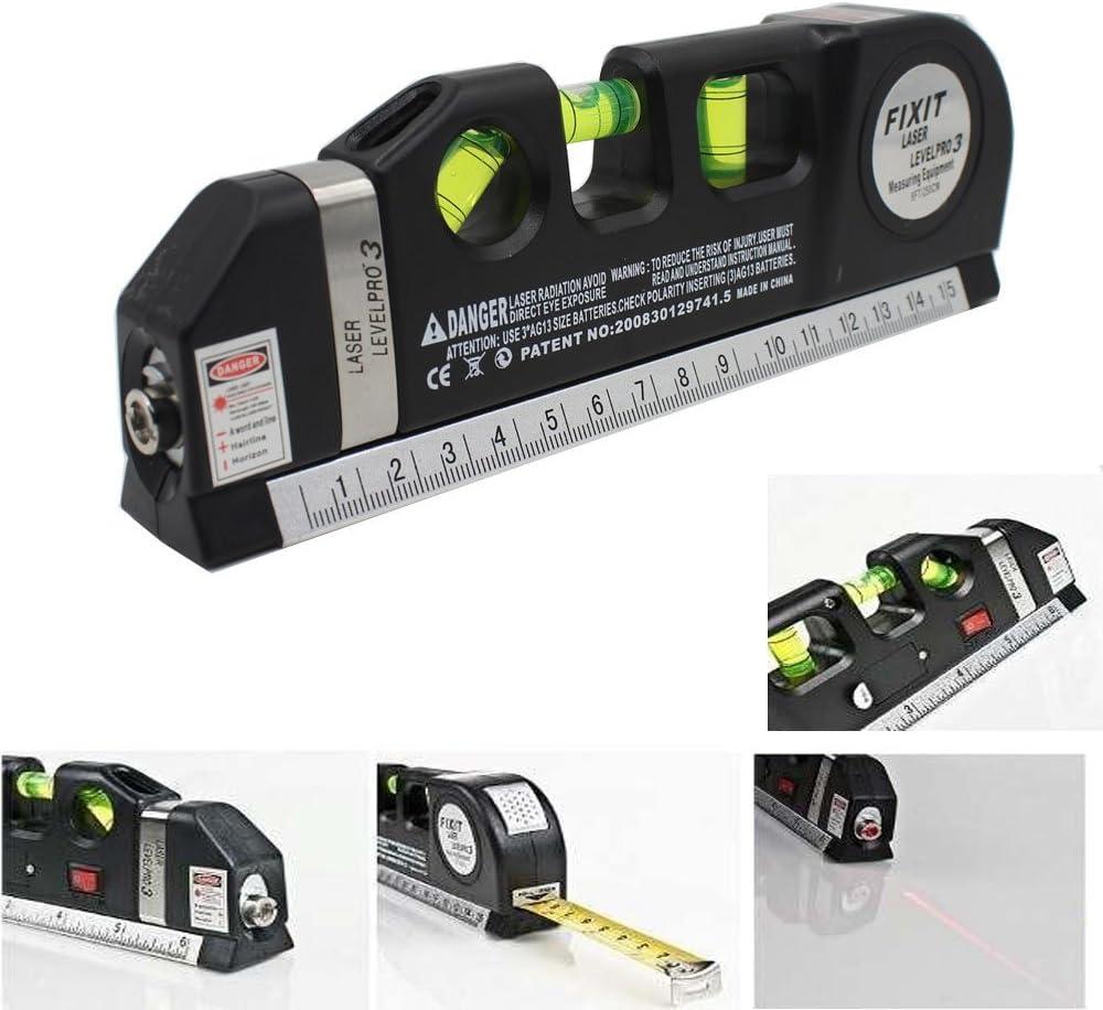 takestop/® Triple Wasserwaage Laser Level Pro 4/in 1/mit Beleuchtung Metro 250/cm von Pr/äzision 3/Blasen DIY elektronische