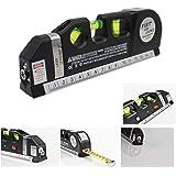 takestop® LIVELLA Laser Tripla Level PRO 4 in 1 con Illuminazione Metro 250 CM di PRECISIONE 3 Bolle Fai da Te Elettronica