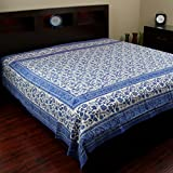 Rajasthan Block Print Tapestry Cotton Spread 106'' x 70'' Twin Blue