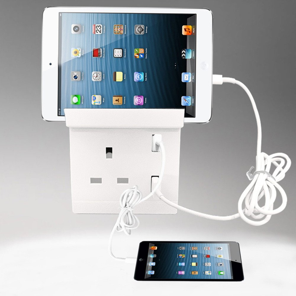 Dual USB Port Electric Wall Socket Charger Dock AC Power Receptacle Outlets Phones Cradle Gessppo