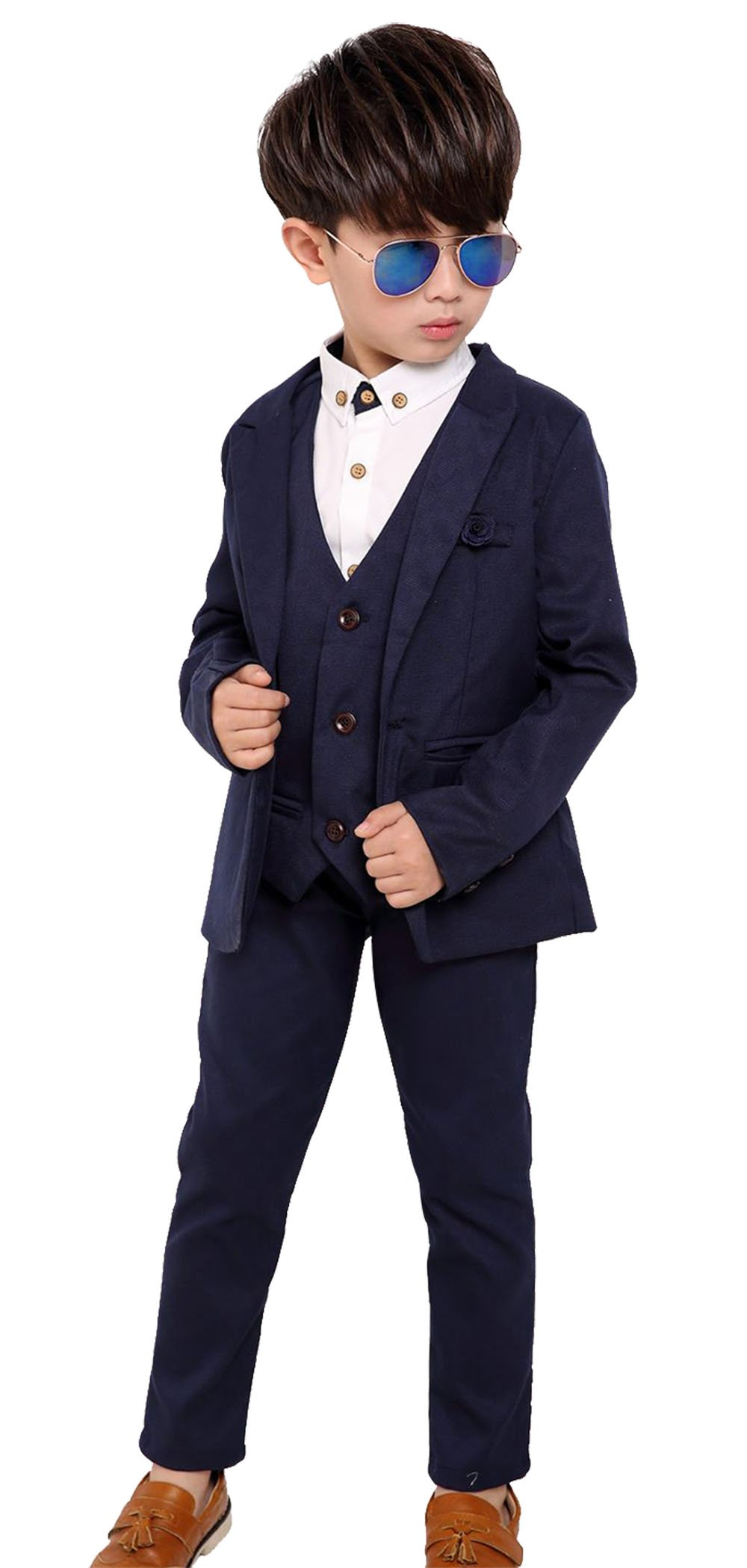 Fengchengjize Boys Suit Set 3 Pcs Kids Tuxedo Suits For Wedding Solid Suit Jacket Vest Loose Pants Navy Blue 4T
