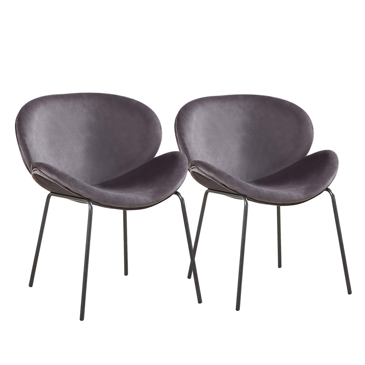 GreenForest Velvet Accent Chairs Modern Large Shell Chairs for Living Room Leisure Chair for Bedroom Set of 2, Grey by GreenForest