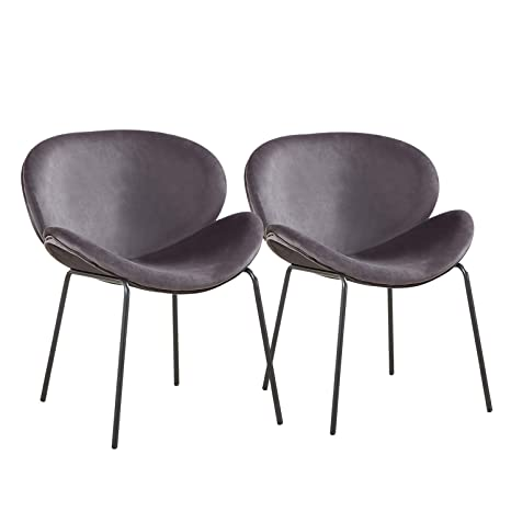 Greenforest Velvet Accent Chairs Modern Large Shell Chairs For Living Room Leisure Chair For Bedroom Set Of 2 Grey