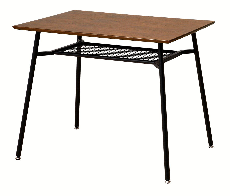 アンセム ダイニングテーブル(s) ANT-2831BR 90×60 2人用 2人掛け用 ウォールナット ブラックスチール B01AD2R0S4