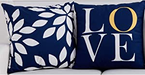 "BJYHIYH Navy Blue Throw Pillow Covers 18""x18""Soft Polyester Decorative Pillow Covers for Couch Bed Pillowcases Set of 2"