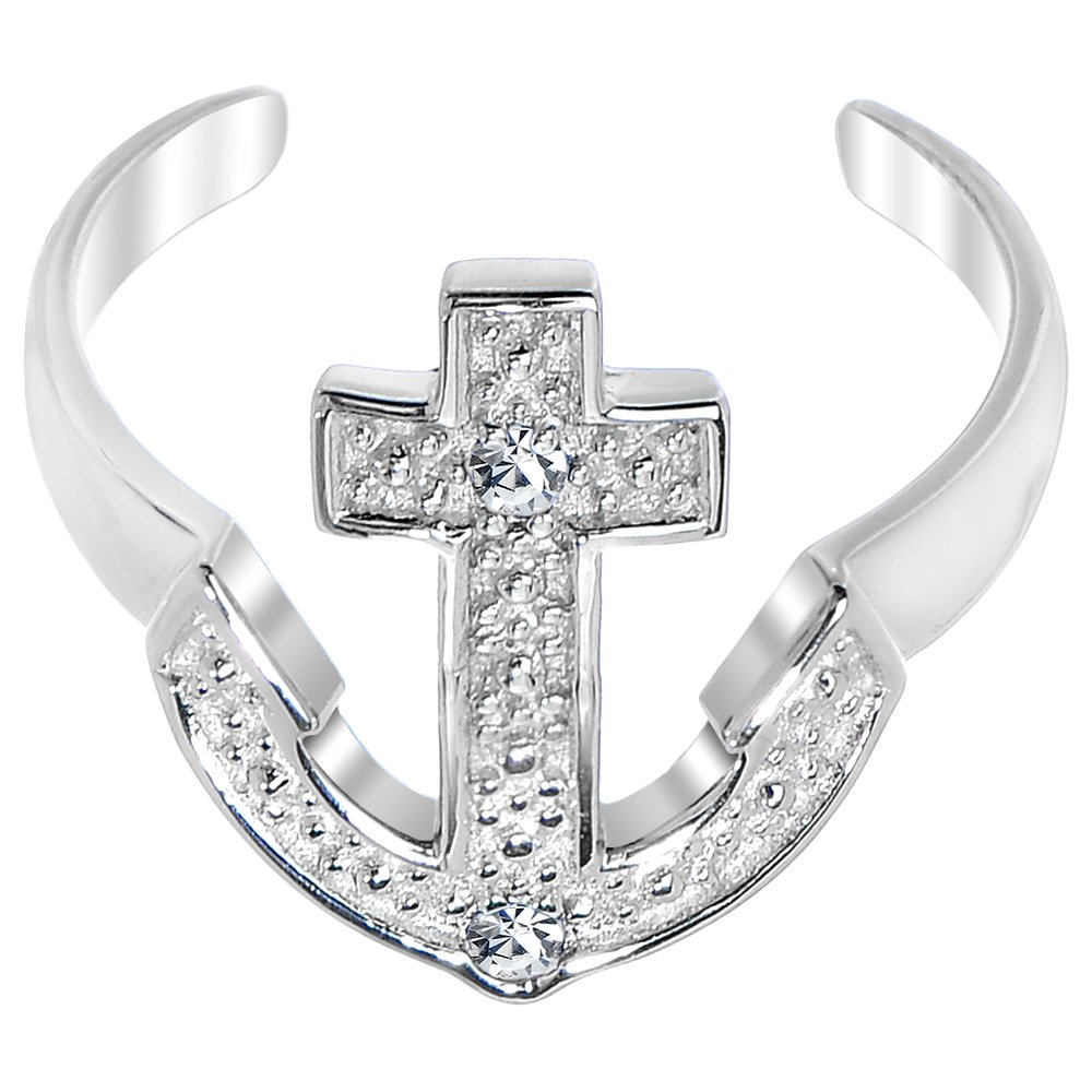 Body Candy 925 Sterling Silver Nautical Anchor Cubic Zirconia Toe Ring