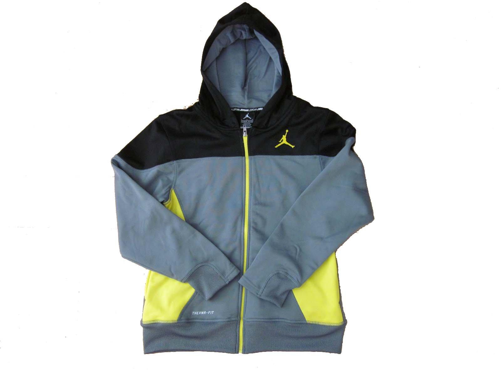 Boys Youth Jordan Therma Fit Zippered Hoodie (X-Large, Grey/Yellow/Black) by Jordan