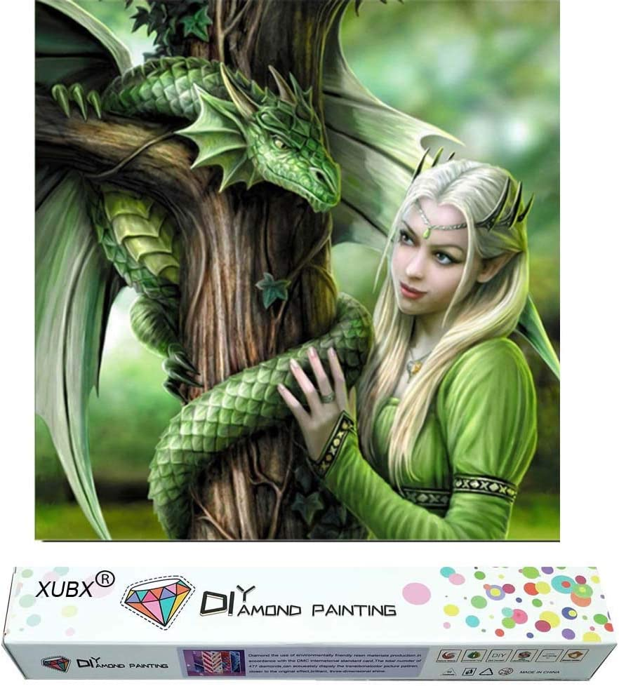 DIY 5D Diamond Painting Kits for Adults,Full Drill Embroidery Arts Craft Paint with Diamond for Home Wall Decor 40x40cm (Green Dragon Girl)