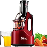 "SKG New Generation Wide Chute Anti-Oxidation Slow Masticating Juicer (240W AC Motor, 60 RPMs, 3"" Big Mouth) - Vertical Masticating Cold Press Juicer"