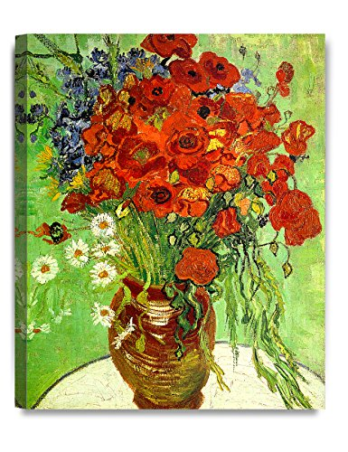 DECORARTS Red Poppies and Daisies, Vincent Van Gogh Art Reproduction. Giclee Canvas Prints Wall Art for Home Decor 20x16