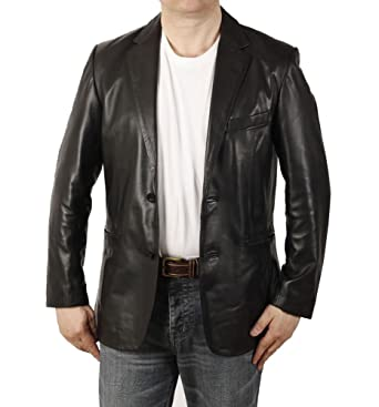 9abb9071c68 Semi-Fitted Mens Black Leather Blazer  Amazon.co.uk  Clothing