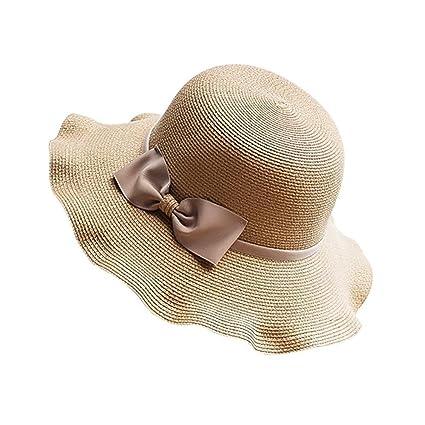 SYGoodBUY Sombrero de Paja Sombrero de Sol Travel Beach Plegable Sombrero  de ala Enrollado con Bowknot d6292176b0c