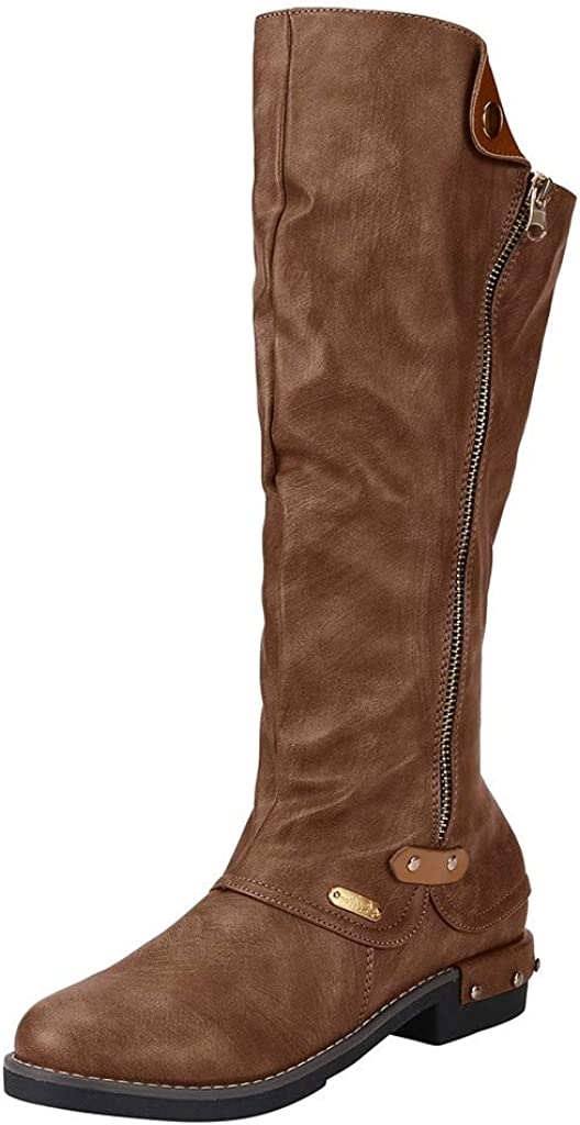 Dainzuy Wide Calf Boots for Women Round Toe Leather with Zipper Retro Womens Snow Outdoor Mid Warm Pu Lined Shoes
