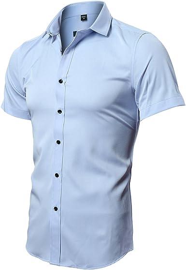 INFLATION Camisa de hombre de fibra de bambú, respetuosa con el medio ambiente, elástica, ajustada para ocio, negocios, boda, color puro, camisa de ...