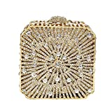 Square Box Hollow Out Women Crystal Minaudiere Evening Wedding Party Mini Clutch Bag (Silver)
