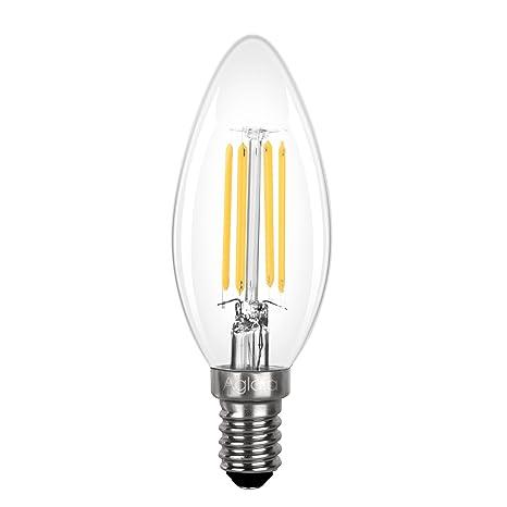 Bombilla LED E14 3,5W, Aglaia 3,5W Equivalente Incandescente de 40W, Luz Vela de Filamento con 2700K Blanco Cálido, 430 Lúmenes y Ángulo del Haz de ...