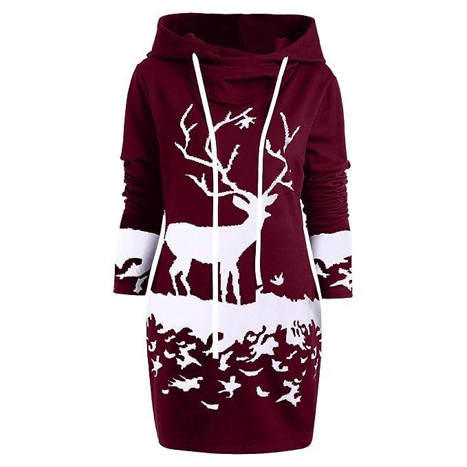qualité et quantité assurées sortie de gros style distinctif Cadeau Noël Femme,LANSKIRT Robe Chemise à Manches Longues ...