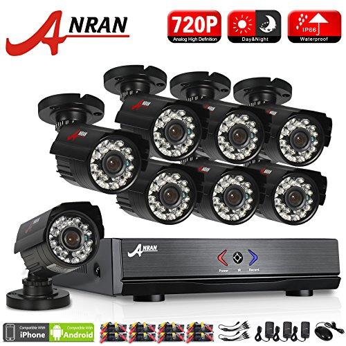 ANRAN 8CH CCTV System 720P HDMI 1080N AHD CCTV DVR 8PCS 1.0 MP IR Outdoor Security Camera 1800 TVL Camera Surveillance System No Hard Drive