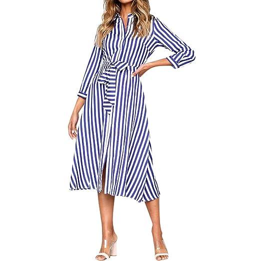 36d469c3f53 Boomboom Newest Spring Juniors Girls 3 4 Sleeve Striped Women Long Shirt  Dresses (S