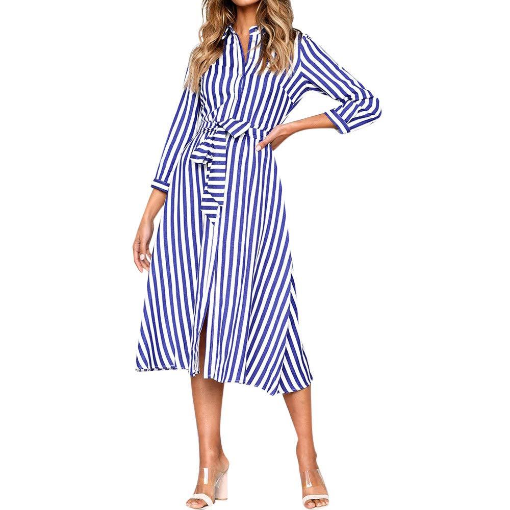 JESPER Women 3/4 Sleeve Striped Dress Ladies Casual Loose Party T-Shirt Dresses Blue