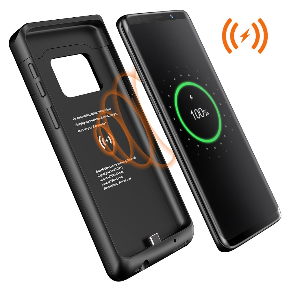 sneakers for cheap e5cdb 34f44 Amazon.com: Galaxy S9 Plus Battery Case,Qi Wireless Charging Charger ...