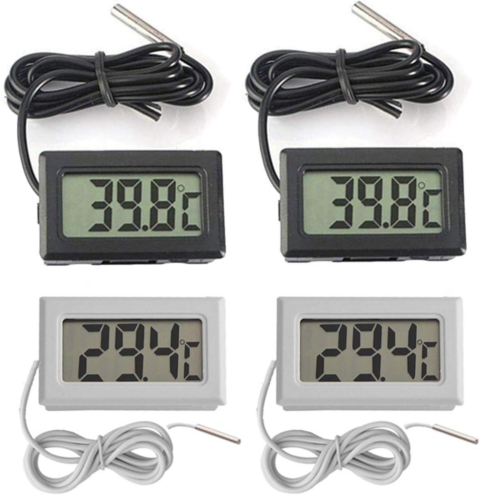 Thlevel Mini Termómetro Digital LCD con Sonda Externa Impermeable para Refrigerador, Congelador, Acuario (2×Blanco 2×Negro)