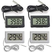 Thlevel Mini Termómetro Digital LCD con Sonda Externa Impermeable para Refrigerador, Congelador, Acuario (2×Blanco 2…