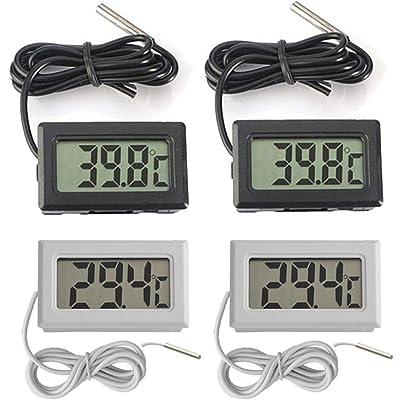 Thlevel 4X Monitor LCD de Temperatura con termómetro Digital y sonda Externa para refrigerador, congelador, refrigerador, Acuario (2X Blanco 2X Negro)