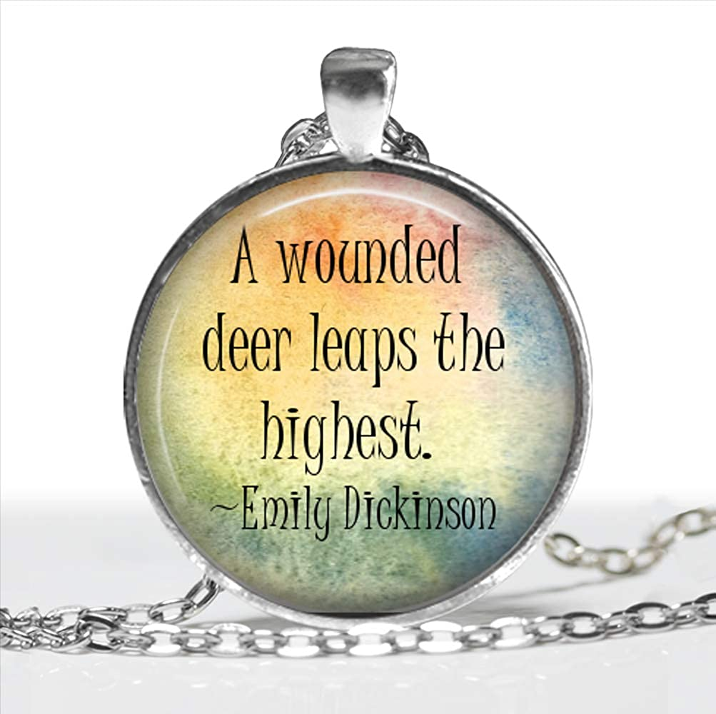 A Wounded Deer Leaps The Highest Emily Dickinson Pendant Silver Handmade Art Necklace Gift Present