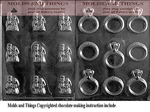 (BRIDE & GROOM MINTS Chocolate candy mold and Engagement/Wedding Ring Wedding Chocolate Candy Mold with molding Instructions)
