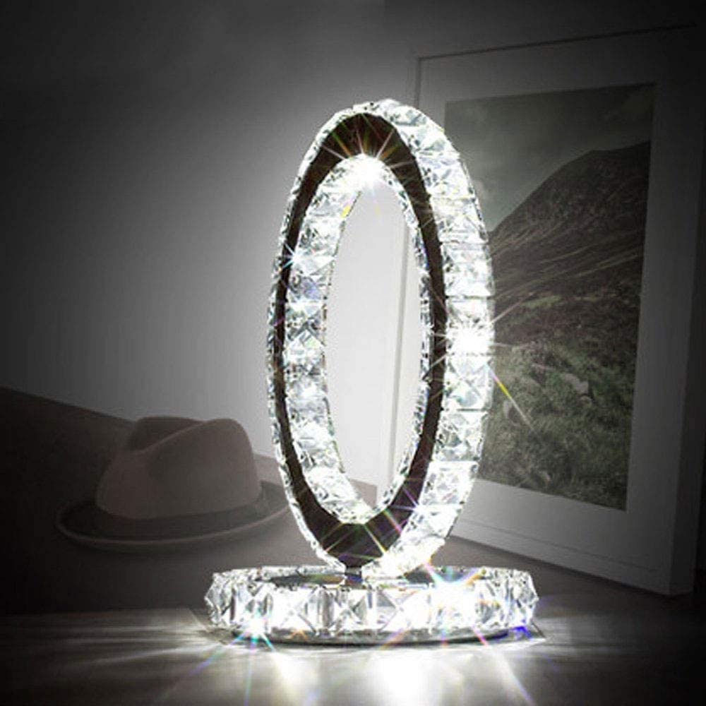 BKXN Table Lamp, LED Crystal Table Lamps, Decorative Bedside Nightstand Desk Lamp Shade for Bedroom, Living Room, Dining Room, Kitchen