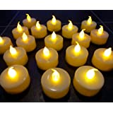 LEDER® - Set di 20 candele tealight a LED con batteria, ideali per matrimoni, abitazioni, Natale, ecc., colore: Bianco