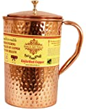 Pure Copper Hammer Pitcher Jug 1900 ML with Lid- Good Health Yoga Ayurveda